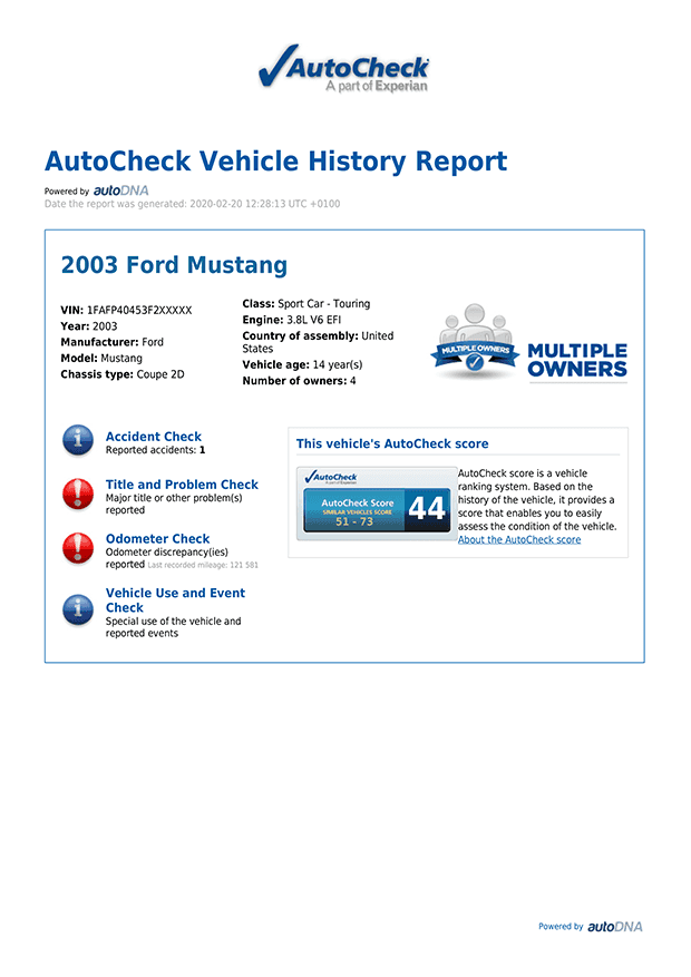 Basic data regarding the checked vehicle imported from the USA, including the model year, brand and model of the car.