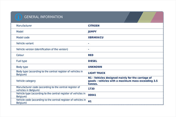 Basic information regarding a vehicle imported from Belgium, including the make, model, fuel type and body type.