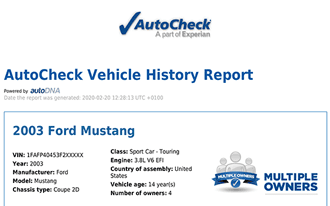 A sample AutoCheck report - vehicles imported from the USA or Canada