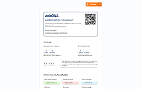 Sample autoDNA Vehicle History Report