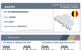 A sample autoDNA Vehicle History Report for Belgian vehicles