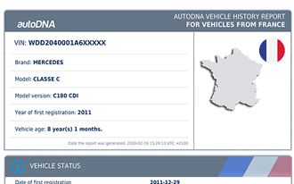 A sample autoDNA Vehicle History Report for French vehicles