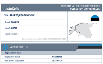 Sample autoDNA Vehicle History Report for Estonian vehicles