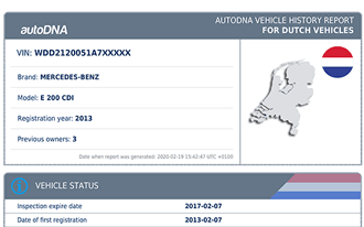 A sample autoDNA Vehicle History Report for Dutch vehicles and mileage verification in the Dutch national mileage registry (Nationale Auto Pas, NAP)