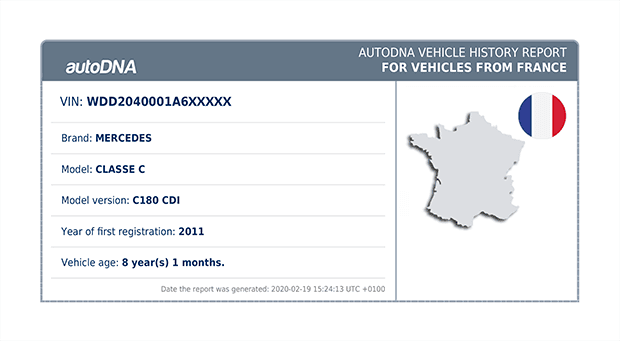 Basic information regarding the vehicle imported from France, including the make, version and model as well as the VIN number