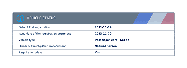 Administrative statuses of the vehicle, obtained from the French Department of Transport