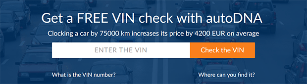 Purchasing the autoDNA report: enter the VIN